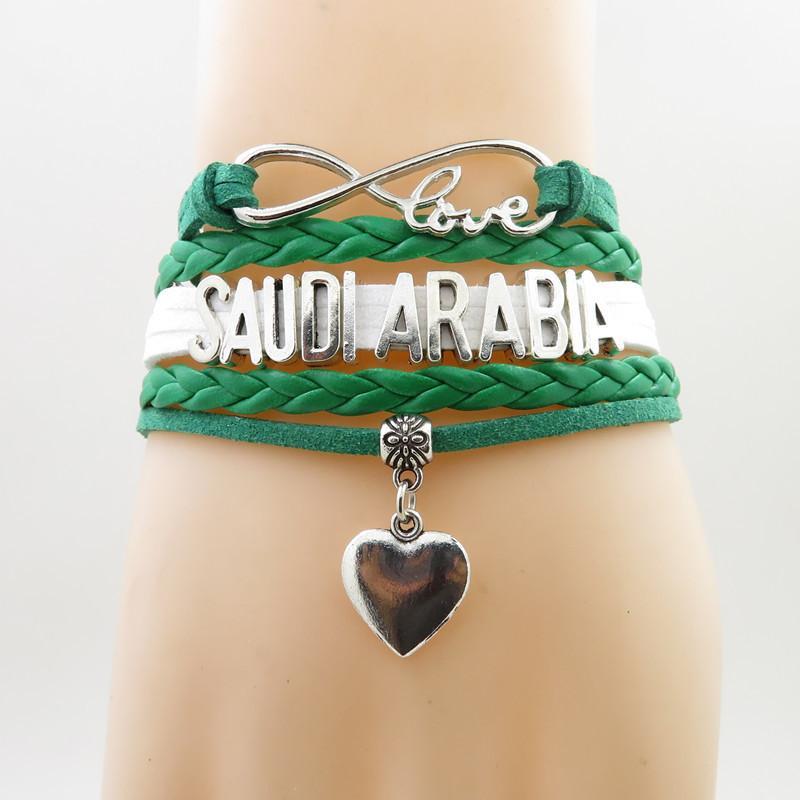 Infinity Love Saudi Arabia Bracelet Heart Charm Saudi Arabia National Flag Bracelets & Bangles For Woman And Man Jewelry