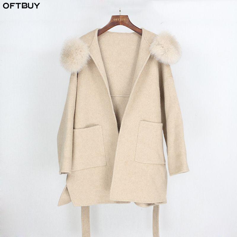 OFTBUY 2020 Piel real capa de la chaqueta de invierno de cuello mujeres sueltan Fox Natural cachemira de la piel mezclas de lana de abrigo de gran tamaño de Calle