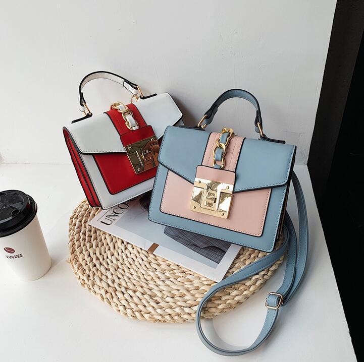 wholesale women handbag new contrast shoulder Messenger bag personality gold buckle women shoulder bag Joker color matching leather fashion