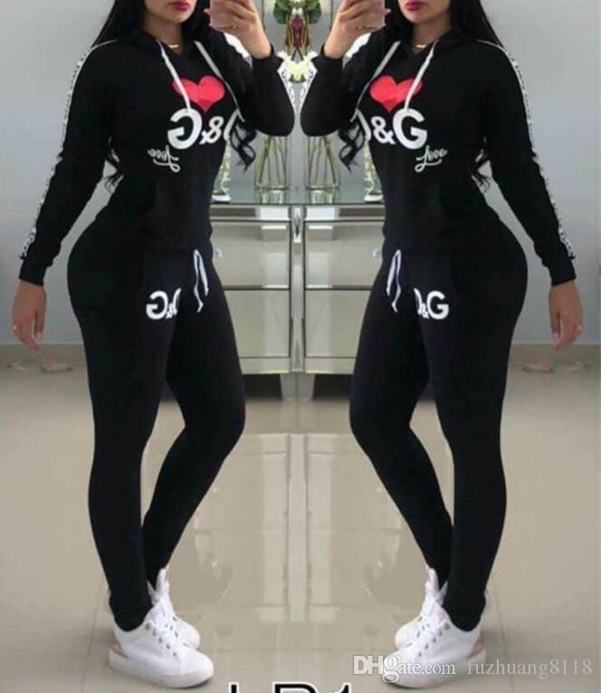 مصمم البلوز الفاخرة الأبجدية طباعة ملابس رياضية طويلة الأكمام الأعلى + سروال كامل وردي مثير ملابس اثنان قطعة المرأة عارضة رياضية