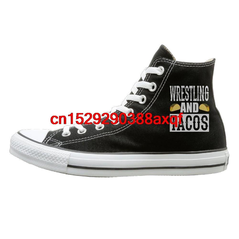 Ve Tacos Tuval Ayakkabı Yüksek Top Sport Siyah Sneakers Unisex Stil Güreş Unisex Günlük Ayakkabılar Erkekler ve Kızlar Spor Ayakkabıları