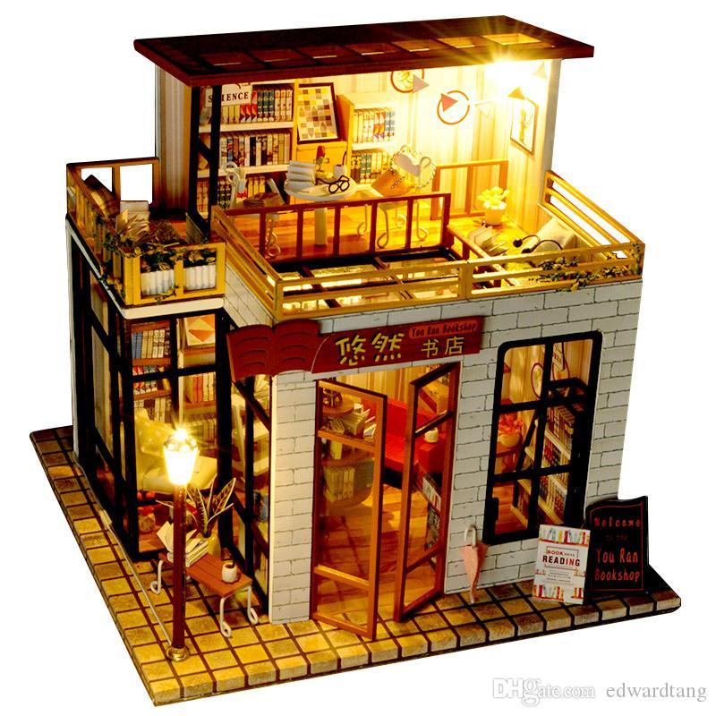"""DIY نموذج لعبة البناء، النمط الصيني مكتبة مع الضوء، خشبية كتل البناء، حزب كيد """"هدية عيد ميلاد، Collectiing، حلية الديكور"""