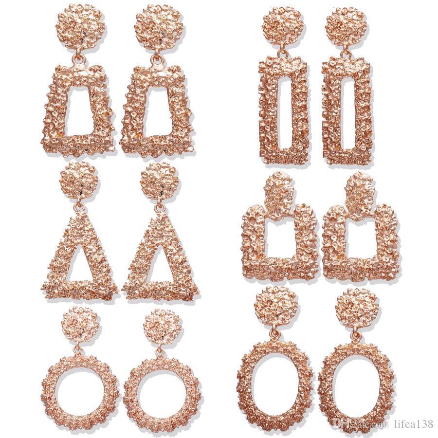 Mode Große Vintage Ohrringe Für Frauen Zwei Farben Geometrische Aussage Ohrring Luxus Metall Earing Hängen Modeschmuck Trendy Kronleuchter