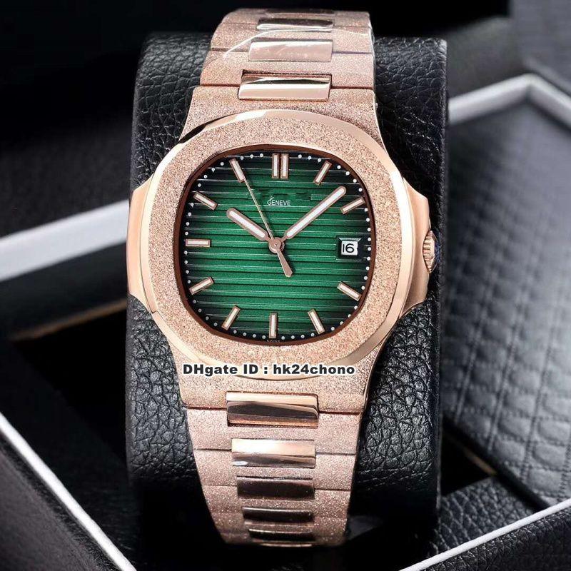 18 Mejor Estilo 40mm Nautilus 5711/1 esmerilado para hombre automático Rosa de Oro reloj mecánico Verde Dial correa de acero esmerilado caballero relojes deportivos
