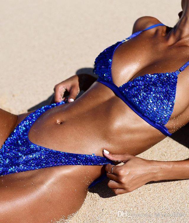 2019 Neue brasilianische Weibliche Bikini Set Sexy Push Up Blau Pailletten-Bikini Split Badeanzug Frauen Trenne Pailletten Biquinis Strand Badeanzüge