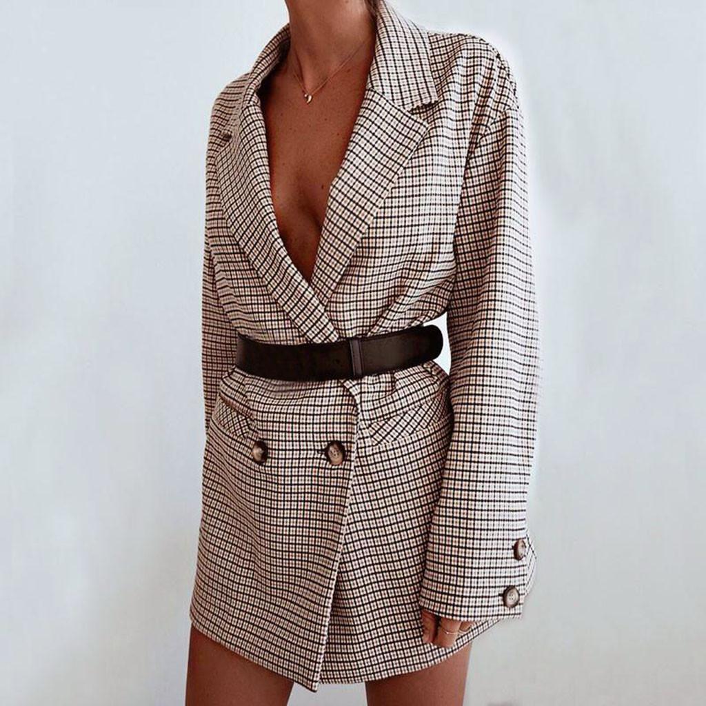 Vintage Bouble Breasted Plaid Donne Blazer Tasche Giubbotti per la donna Retro Suits cappotto giacche sportive Feminino tuta sportiva di alta qualità