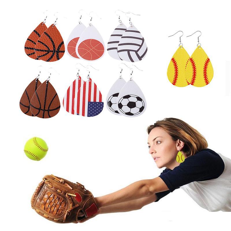 انخفاض أقراط للرجبي البيسبول كرة القدم جلدية النيون البيسبول الدمعة الأقراط الأزياء والمجوهرات هدية عيد ميلاد دي إتش إل الحرة