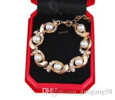 Оптовая 5 шт. / лот благородного желтого золота заполнены цепи инкрустация кристалл жемчужина женский браслет престижный подарок бесплатная доставка 16.29y4.9t