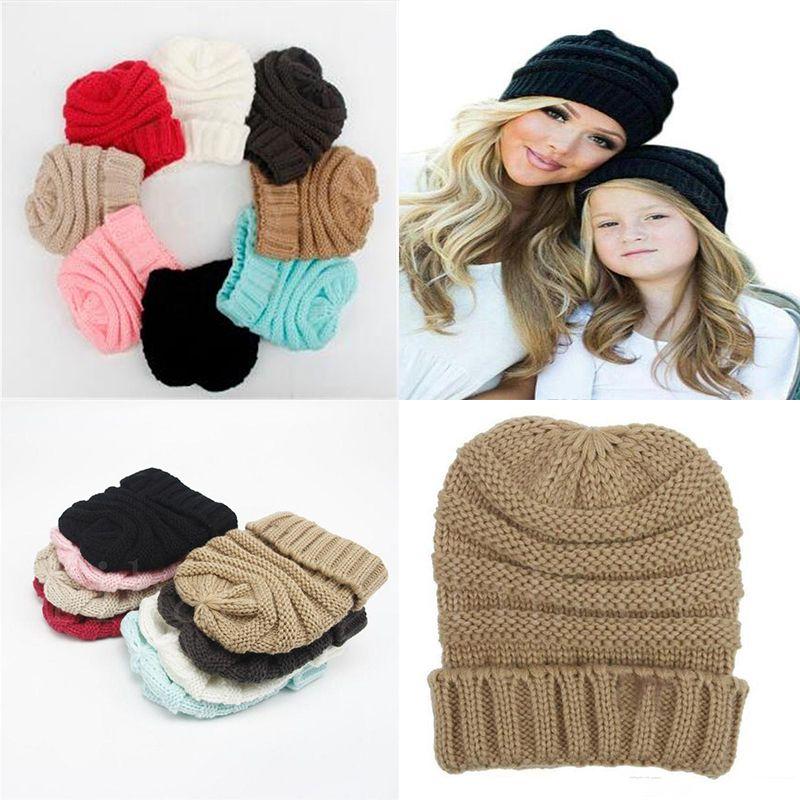 بيع الساخنة الآباء القبعات الاطفال الرضع الأمهات الشتاء حك القبعات الدافئة القلنسوات الجماجم مقنع القبعات القلنسوات M048
