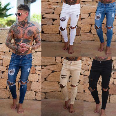 2018 Streetwear Hiphop Moda Men 's Do Joelho Buraco Skinny Jeans Branco Estiramento Calças Jeans Hem Zipper Motociclista Motocicleta Calças