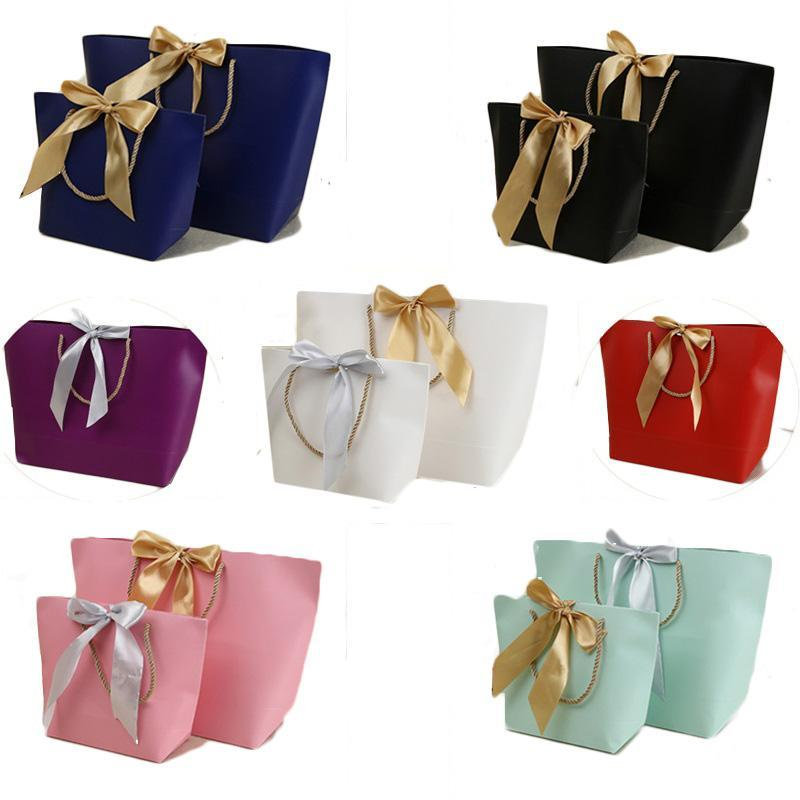 Paper Gifts Bags With Handles Pure Color 10 Colors Clothes Shoe Shopping Bag Gift Wrap 21x7x17cm