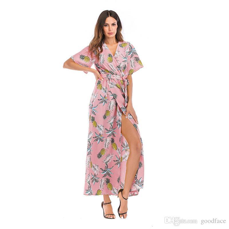 new Women Dresses V-neck Short-sleeve Split Flower Dresses Lady Summer Vacation Beach Skirt Girl Casual Bohemian Chiffon Long Dresses