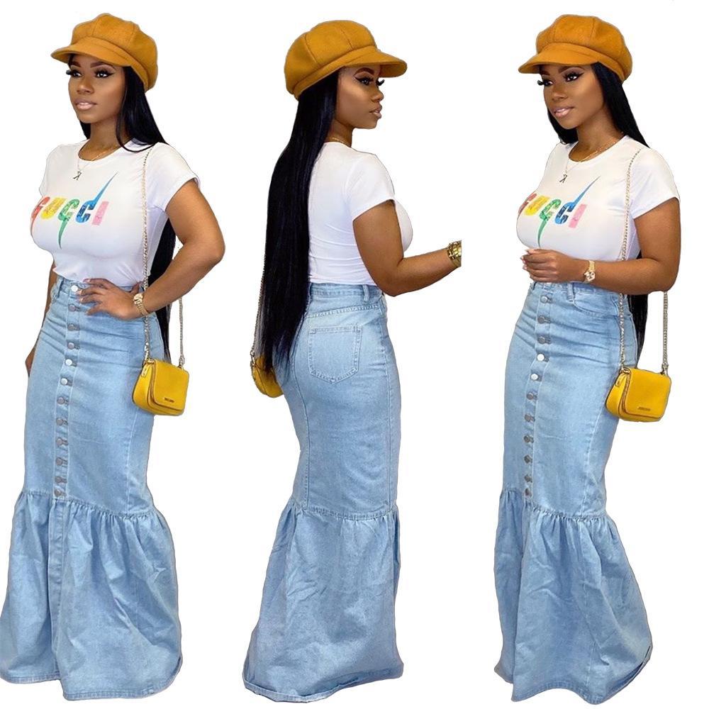Бесплатный корабль Новые женщины мода джинсовые синий Русалка юбки повседневная Высокая Талия Bodycon Длинные джинсы юбки XXL