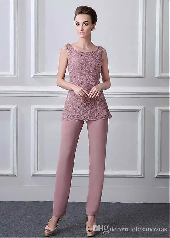 Modest Pant Suits Chiffon Lace Scoop Neckline Full-length Mother Of The Bride Dresses With Beadings Coat Jacket Pantsuit Jumpsuit 3 Pieces