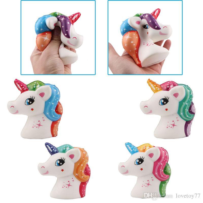 Nueva impresión en color de la cabeza de caballo del unicornio de Kawaii blando animal Rebote más lento lindo Squishies Animales Squeeze regalos descompresión juguetes al por mayor