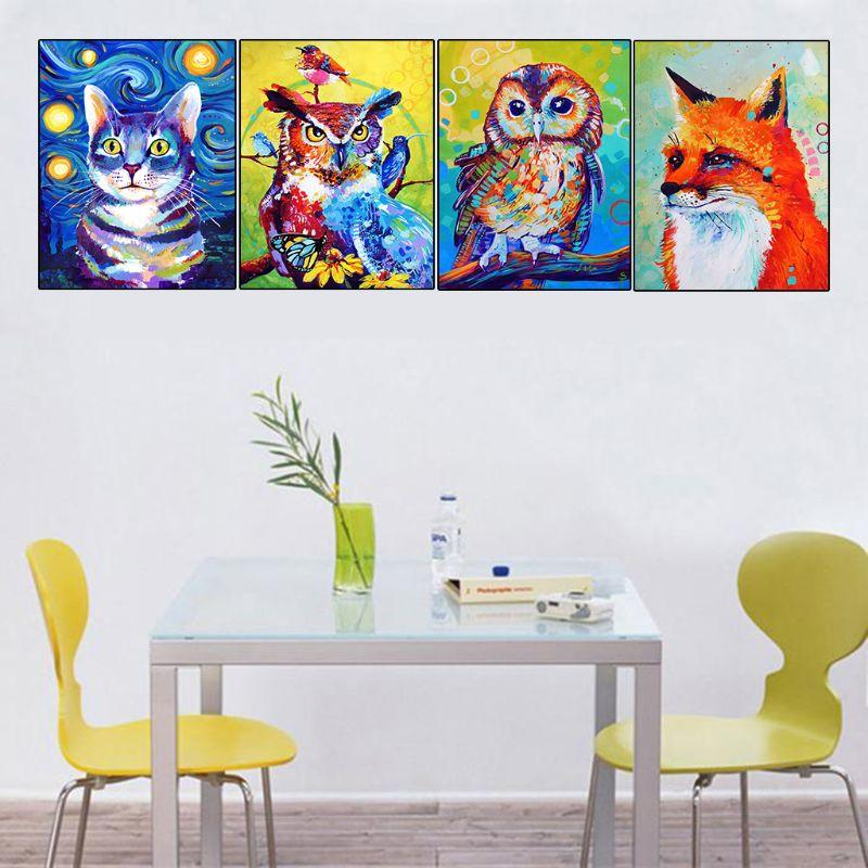 4 paquetes de búho gato 5D DIY kits de pintura de diamantes taladro completo bordado de diamantes de imitación punto de cruz decoración del hogar artesanía