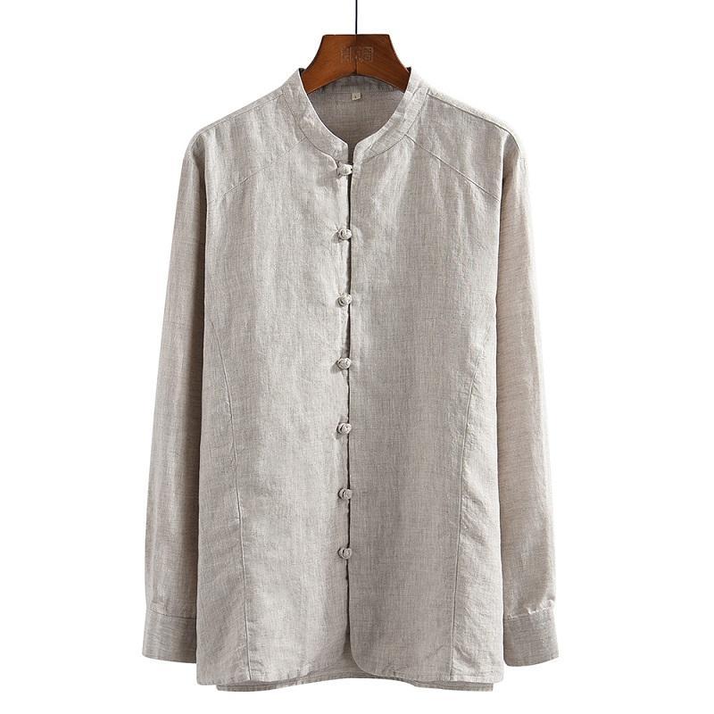 2020 Мужские рубашки с длинным рукавом 100% Pure льняной Summer Casual Белые рубашки Человек Стенд воротник рубашки мужчина блузка Топы Y2641