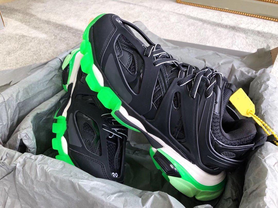 Traccia release 3.0 Coppie Triple Sneaker nero neon verde Tripler pista 3.0 Uomini Donne scarpa da tennis del progettista pattini casuali di vendita calda Prodotti Stella