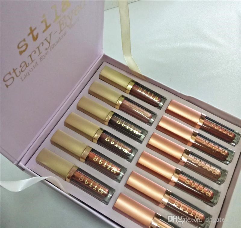 Venda quente Stila Eye For Elegance Set Starry-Eyed Líquido Eyeshadow Vault Viagem Maquiagem Brilho Set Eye Cosméticos Para Meninas 12 Cores