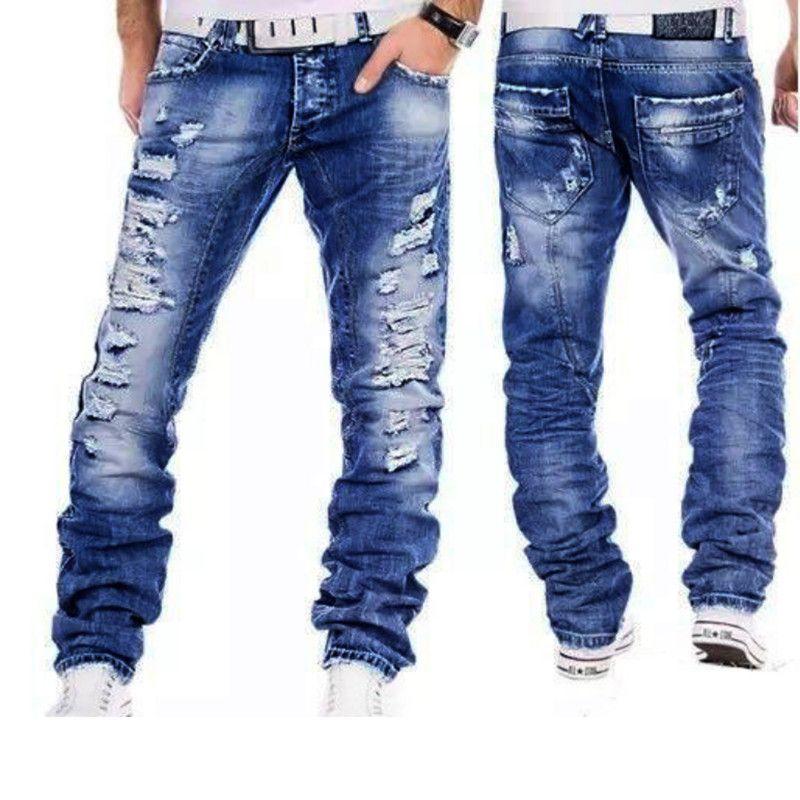 Men Jeans 2019 New Water Wash Whitening Casual Jeans rectos para hombres moda agujero de alta calidad ropa de hombre pantalones