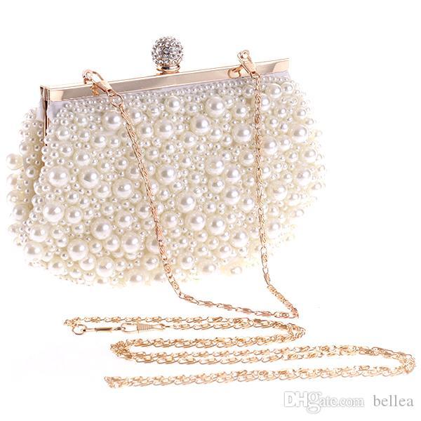 Luxus Abendtaschen Hochzeit Clutch Handtasche Perle Tasche Kleid Abendessen Tasche Kleine Geldbörse Brautjungfer Handtasche Weißes Gold Freies Verschiffen