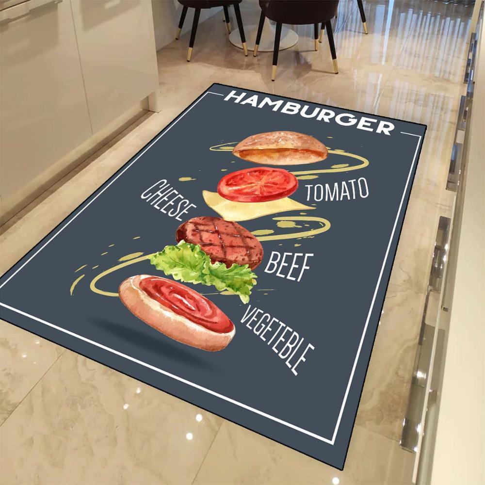 Otra cosa Azul marino fresco hamburguesa de impresión en 3D no del resbalón de microfibra cocina moderna decorativo lavable manta de área de Mat