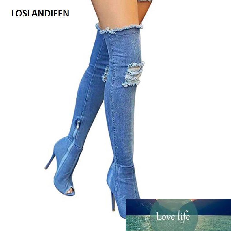 Dedo del pie de las mujeres del agujero Denim Boots Verano Otoño pío sobre la rodilla botas de calidad alta elasticidad pantalones vaqueros de moda los tacones altos del tamaño extra grande