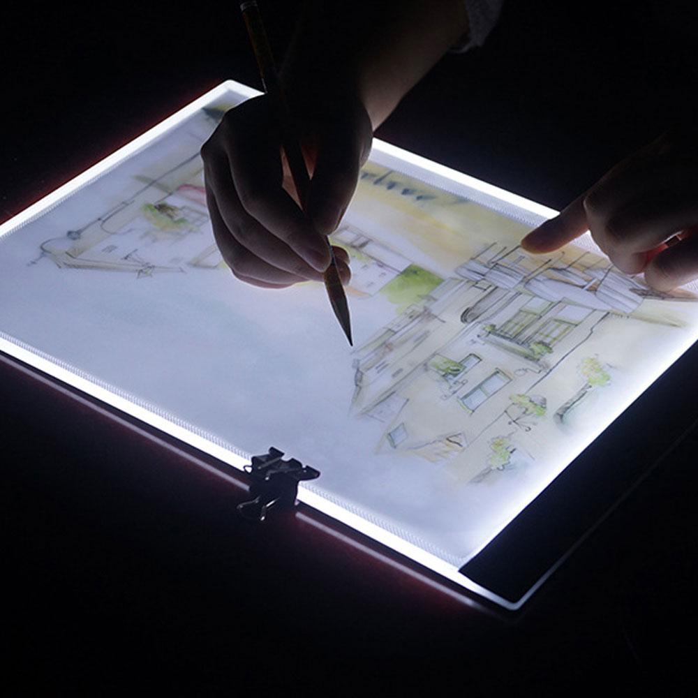 A4 Ultra-İnce Taşınabilir Dim LED Akrilik Kurulu Gece Boyama Ve Yazma, Görüş Beyaz Işık Koruma