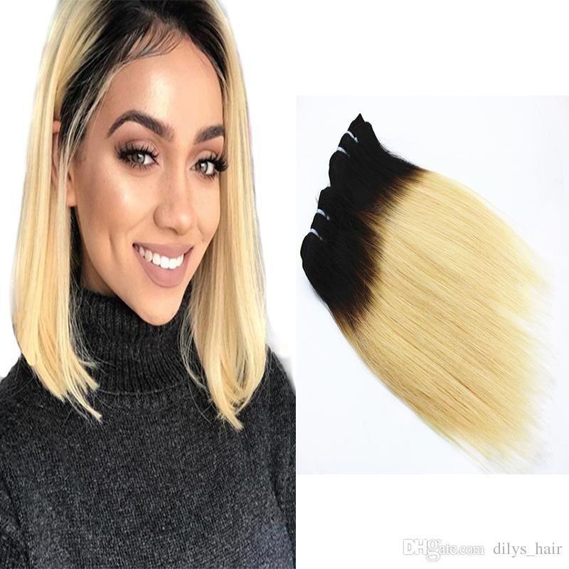 Dilys Hair прямые человеческие волосы пакеты волос T1B / 613 OMBRE цвет перуанские индийские перуанские роли человеческие волосы плетены 12 дюймов