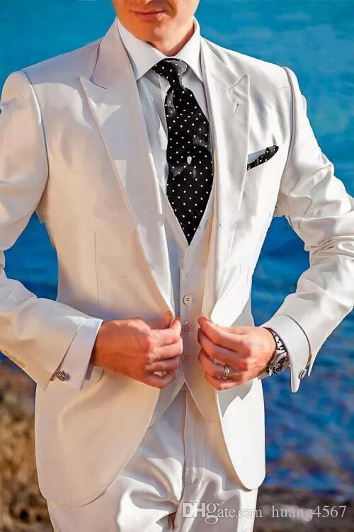 새로운 스타일 원 버튼 웨딩 신랑 턱시도 피크 옷깃 Groomsmen 남성 복장 댄스 파티 (자켓 + 바지 + 조끼 + 넥타이) 149