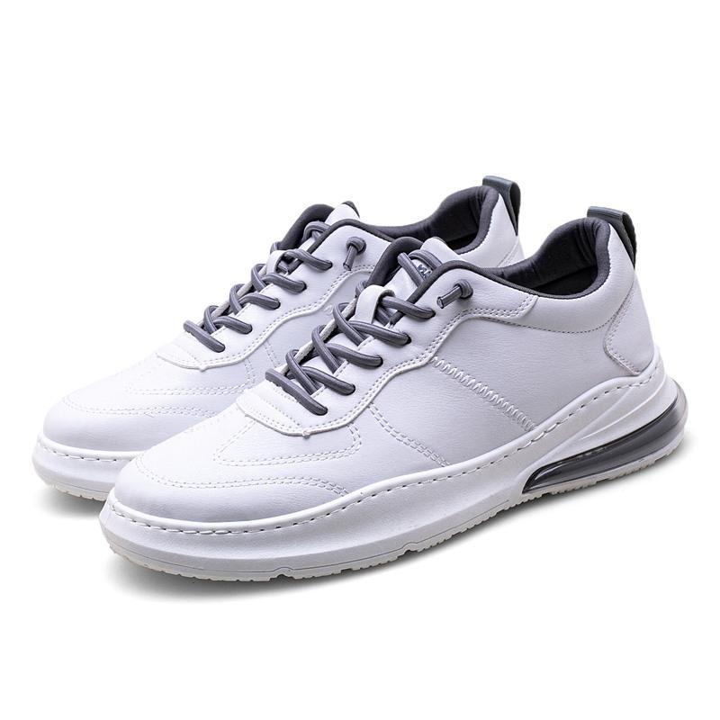 2020 Hombres zapatillas de deporte masculino de manera del resorte ocasional cómodo Ocio Zapatos con cordones partido de la vaca cuero blanco calzado transpirable * BL001