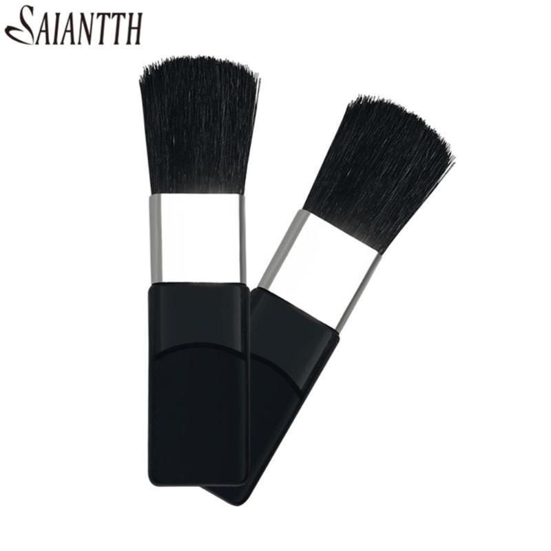 Saiantth 10pcs/lot Universal 55MM Small Blush Brush Black Handle Disposable Makeup Tool Horse hair Blusher makeup brushes