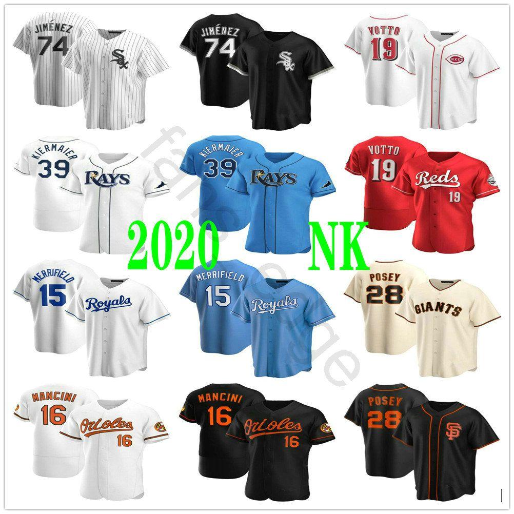 2020 Neue #74 Eloy Jimenez 39 Kevin Kiermaier 19 Joey Votto 15 Pfingstmontag 16 Merrifield Trey Mancini 28 Buster Posey Genähte Baseball Trikot