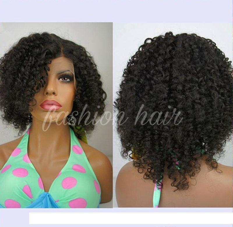 C corti capelli umani parrucche ricce Virgin peruviano Remy parrucca piena del merletto Kinky parrucca riccia unprocess parrucca anteriore del merletto
