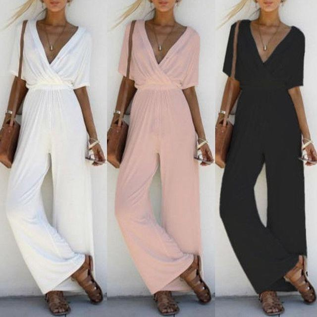 Women Rompers V Neck Women Fashion Jumpsuits Lady Solid Casual Long Playsuits Romper Short Sleeve T200620