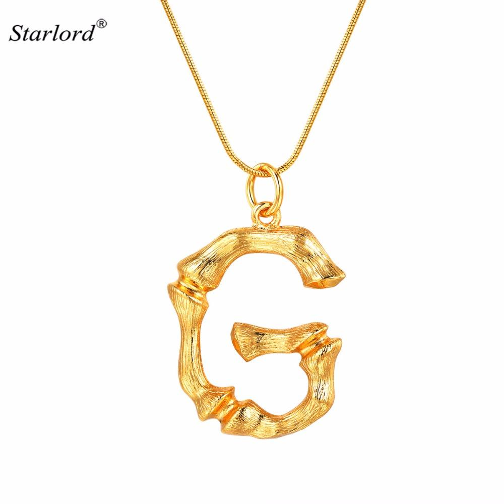 Wholesale Bamboo Initial G Letter Necklace Snake Chain Gold Alphabet  Jewelry Chunky Big Statement Letter Charm Personalized Gift P9080 Family  Pendant Necklace Small Pendant Necklaces From Jerry110, $17.86| DHgate.Com