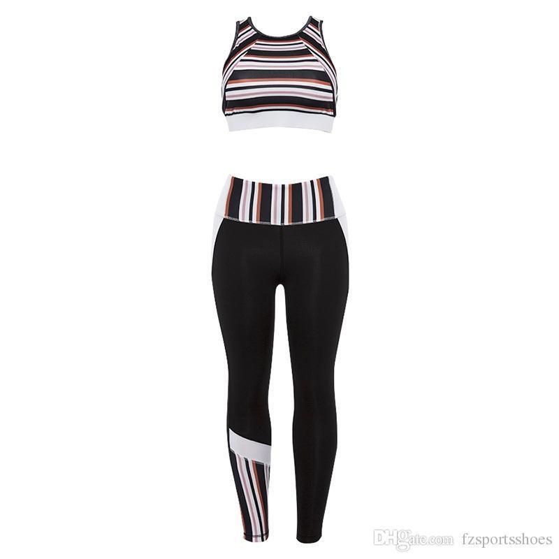 Striped Female Sport Suit Women Fitness Clothing Sport Wear Yoga Set Gym Jogging Suits Sportswear Running Leggings Women Set #73989