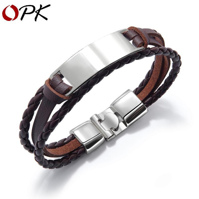 Men's Leather Handmade Braided Bracelet Wristband Black 4 Pieces Set Uk Seller