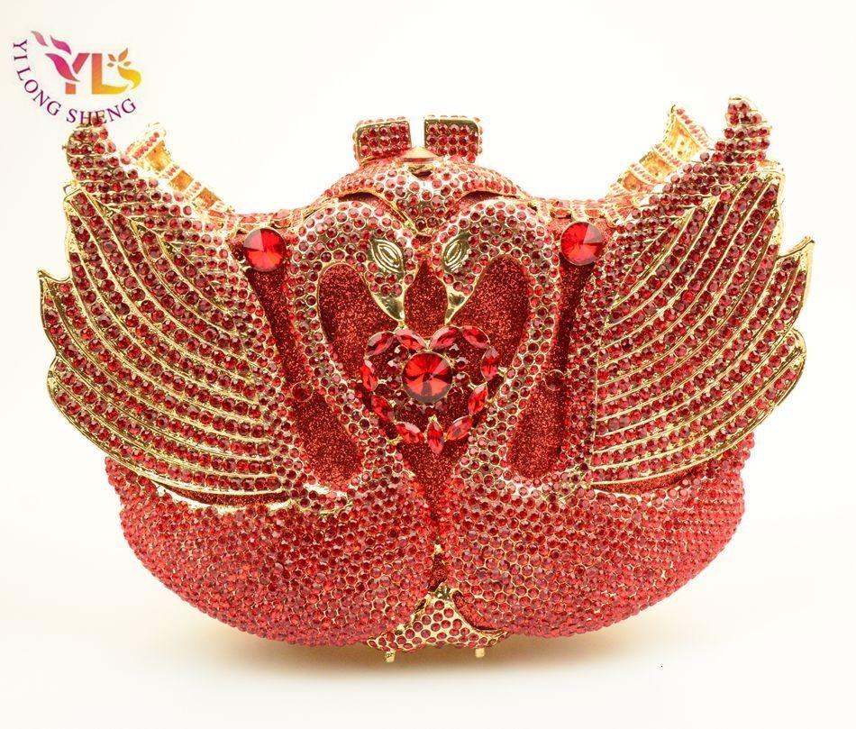 Bolso de noche de cisne de moda bolso de embrague de cisne de diamante alivio hueco bolso de lujo de acrílico banquete fiesta monedero bolso de hombro de las mujeres SH190918