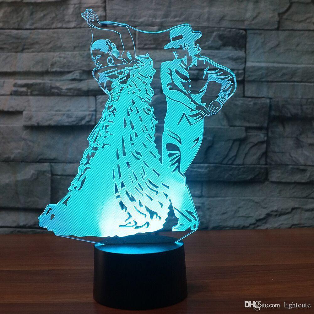 Acheter Creative 3D Led Lampe De Bureau Visuel Mexique Danse Modeling Usb Chambre Nuit De Sommeil Veilleuse Colorés Luminaires Cadeaux Décor De $25.69