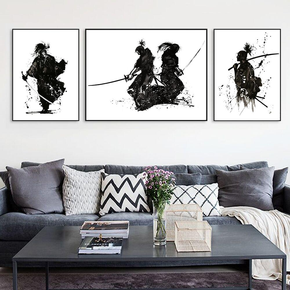 2019 Japanese Style Black White Samurai Ink Painting Japan Bushido Katana Warrior Painting Wall Decor Canvas Poster Set Of 3 From World View