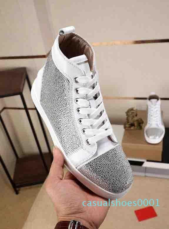 De calidad superior inferior rojo de las zapatillas de deporte del Rhinestone Strass zapatos de alta zapatillas de deporte de las únicas mujeres de los planos de los zapatos de moda casual disco AC01