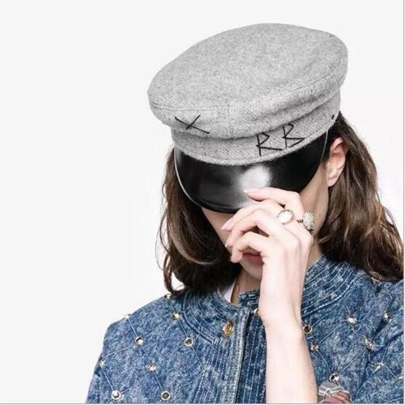 Berretto Fashion-Vintage ricamo delle donne militare lana baker boy ritish classici femminili Gatsby piatti Cappelli