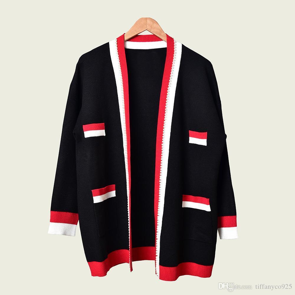 2020 осень зима черный с длинным рукавом V шеи Контрастность Цвет Вязаная Щитовые Карманы Кардиган вскользь Outwear Пальто MD091068