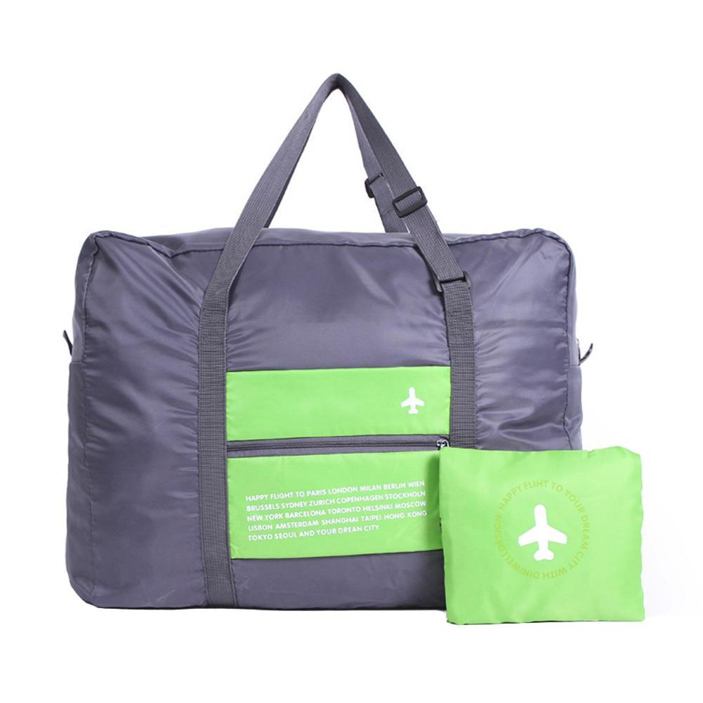Mobile Travelbag Foldable Tote Large Capacity Storage Luggage Bag with Zipper Green