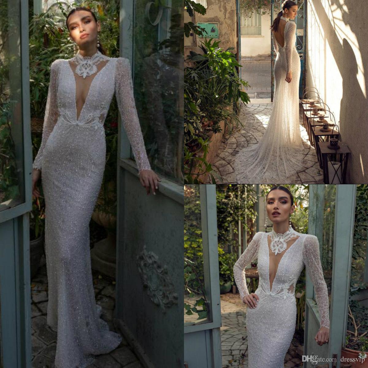 2019 Lian Rokman sereia vestidos de casamento de alta pescoço Lace Appliqued manga comprida vestido de noiva de praia Backless Sweep Trem frisado vestido de noiva