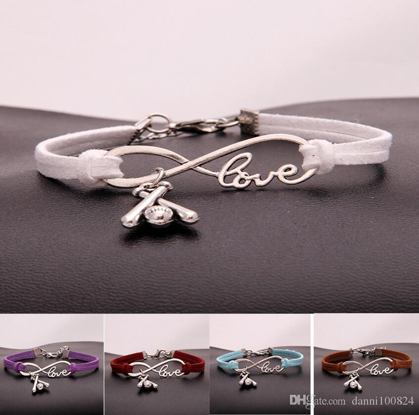 Hot 10pcs/lot Infinity Love 8 Bracelet Softball motion Bracelet Charm Pendant Women/ Men Simple Bracelets/Bangles Jewelry Gift A133