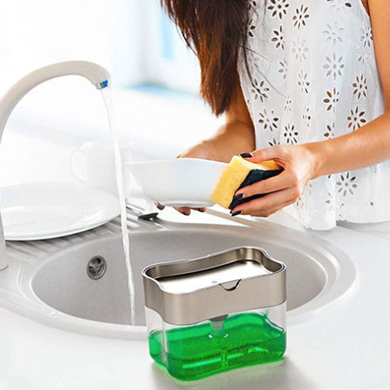 Sabunluk Sabun Pompası Sünger Yaratıcı Mutfak 2'si 1 ev mutfak FFA4158 için Yıkama Sponge ile Manuel Basın Sıvı Sabun Dispenser