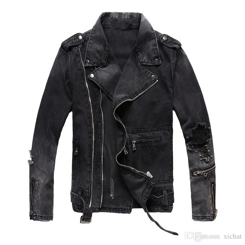 Benzersiz Erkek Daha Fermuar Siyah Denim Ceketler Moda Tasarımcısı Slim Fit Ripped Streetwear Motosiklet Biker Epaulet Kot Ceket Kaban 403