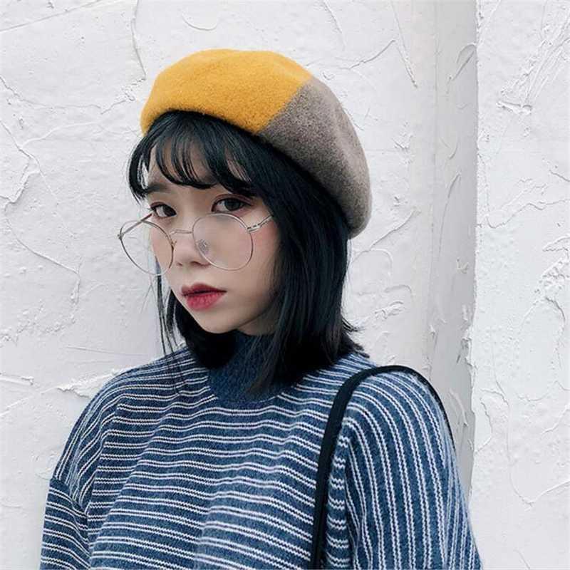 IANLAN Moda contrasto di colore di lana Beret donne invernali Cappelli registrabili signore artistico zucca Cappelli Pittore Caps IL00273